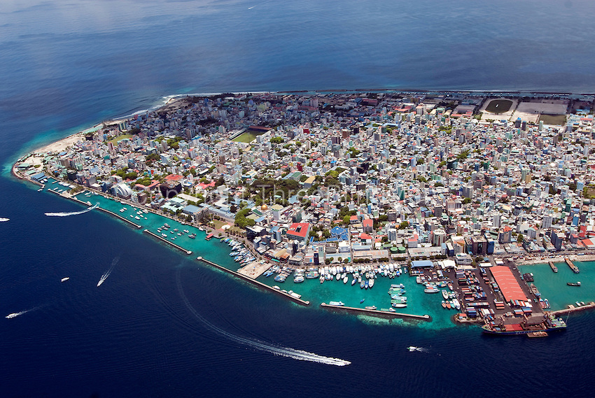 Maldives. Male. The Capitol city/island. Aerial view.