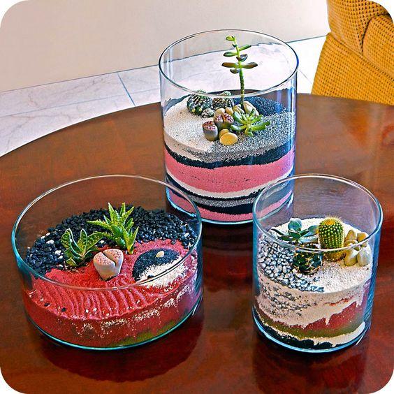 sand terrarium, succulent terrarium, plant gift ideas, cool home decor, modern planters. $35.00, via Etsy.: