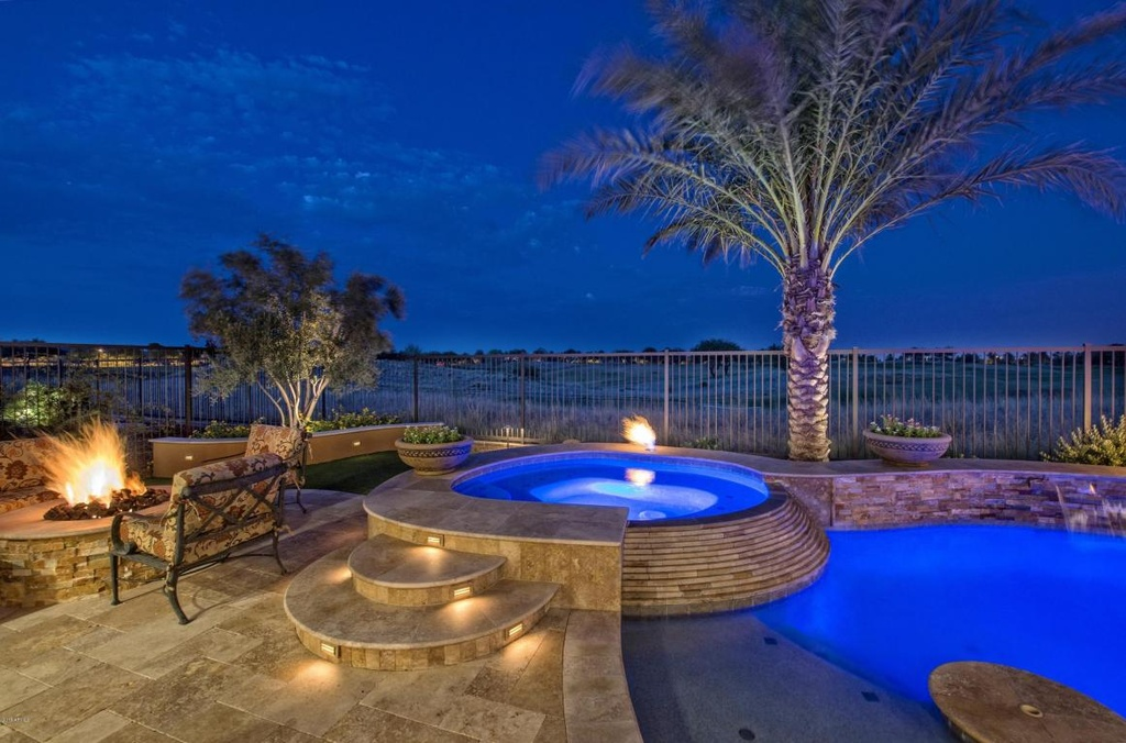 Contemporary Hot Tub with Raised beds, Fire pit, exterior tile floors, Fence