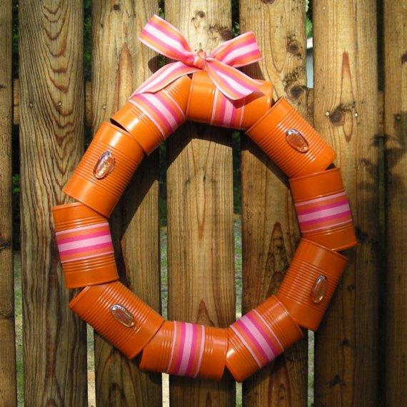 Recycled Orange Cantastic Wreath - Eco-friendly Metal Wreath - Unique Door Wreath