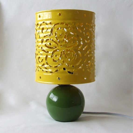RESERVED for ALLISONLUELLA - Yellow and Green Floral Convertible Lamp