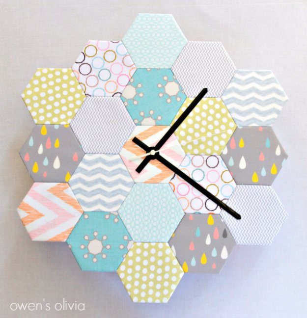 Fabric-Block-Hexagon-Clock