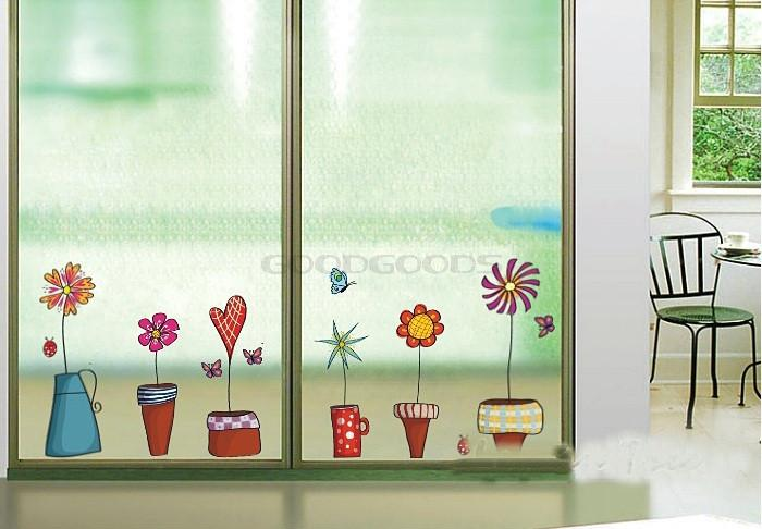 New-2015-DIY-Wall-Sticker-Mural-Home-Art-Decor-Pot-Plant-Flower-Butterfly-Lovely-Window-Glass