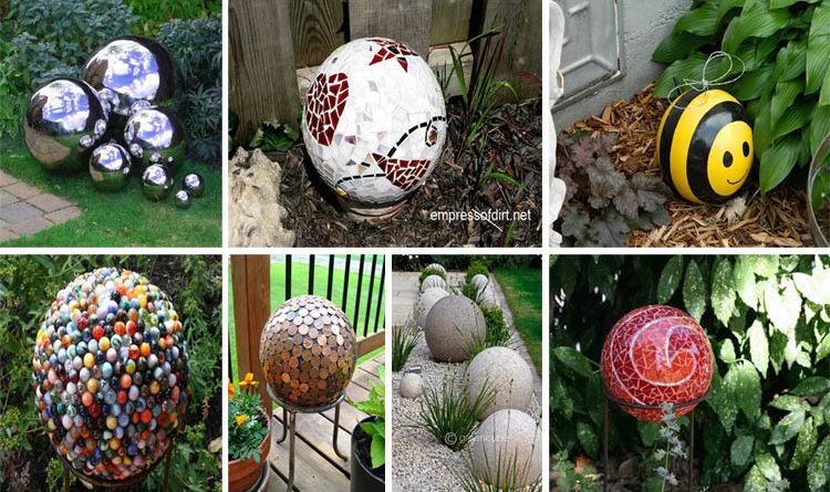 Eye-Catching  DIY Garden Balls Inexpensive Decorations