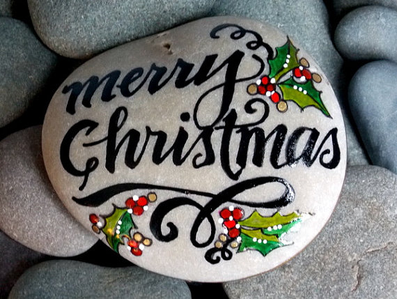 merry christmas painted stone