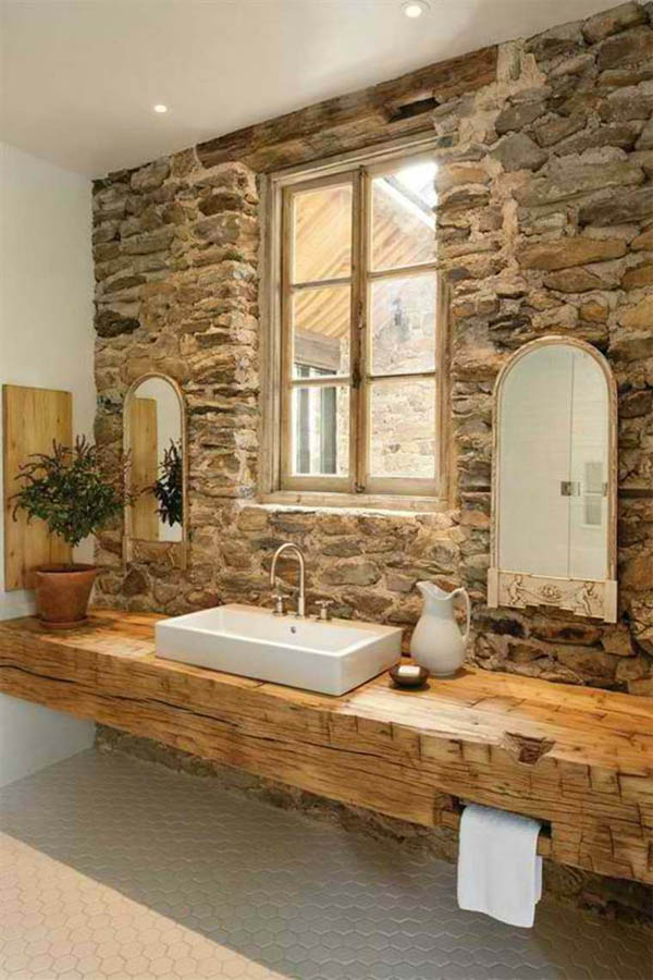 Wall Decoration Ideas Stone : Gorgeous rustic bathroom decor ideas to try at home