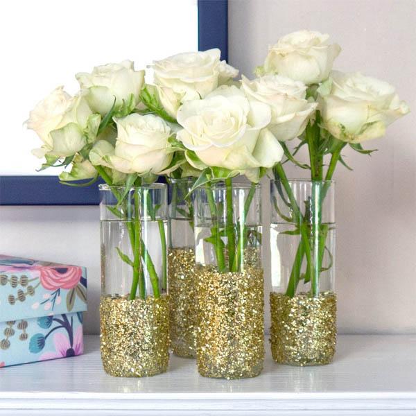 perfect simple diy glitter shot vases with decorar jarrones with decoracion de jarrones - Decoracion Jarrones