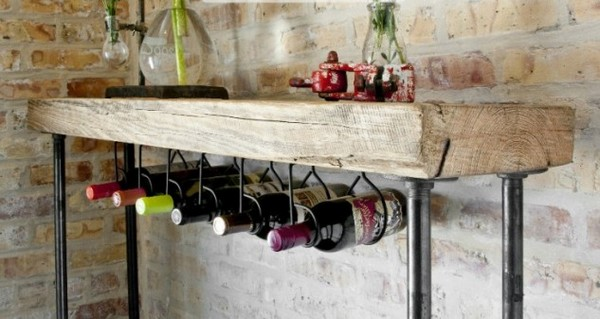 wood console table with wine bar