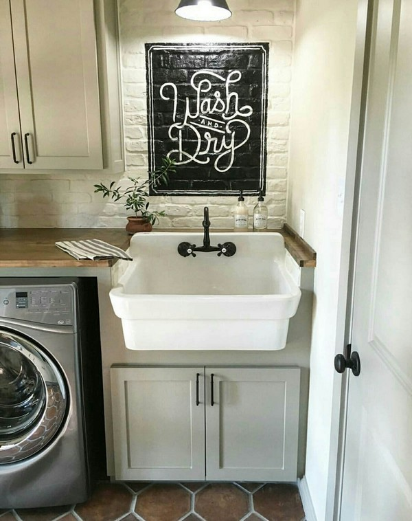 Farmhouse Sink Plus U201cWash And Dryu201d Sign. Laundry Room
