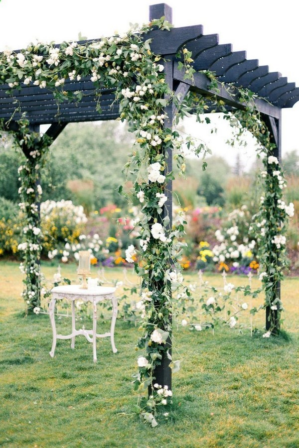 Black Pergola With Climbing White Clematis - 15 Beautiful Climbing Plants For Pergola And Arbors That Will Make