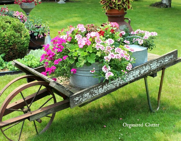 wheelbarrow vintage garden flower display - Garden Ideas Vintage