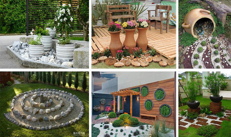 52 Fresh Front Yard and Backyard Landscaping Ideas for ... |Rock Garden With Pots