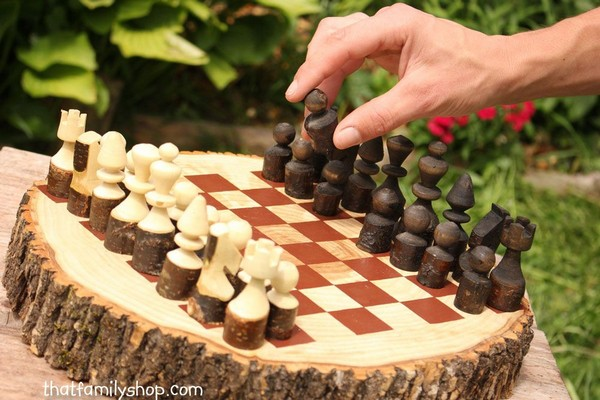 Rustic Wood Log Chess Set