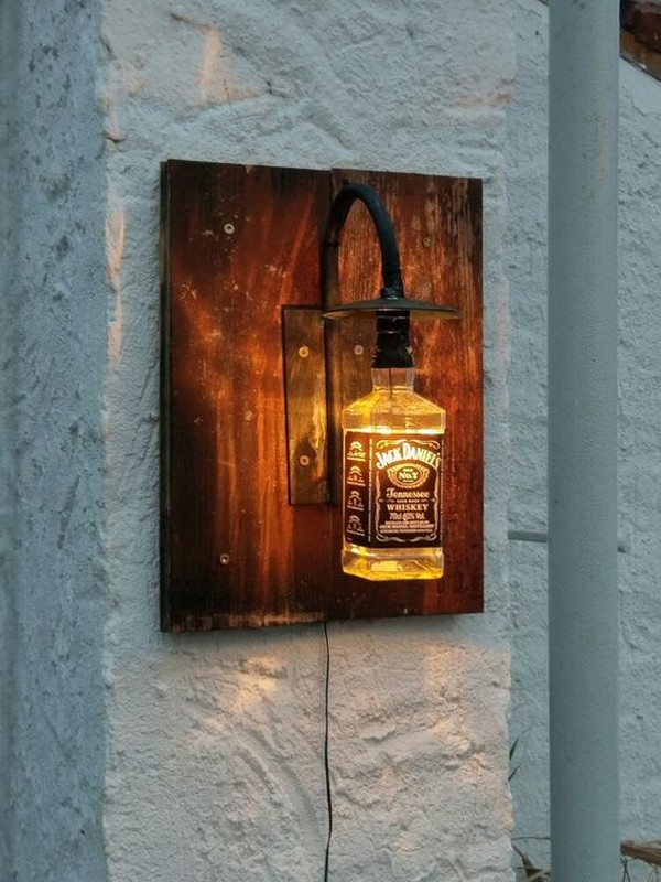 diy wall lighting. A Wall Light Created From Whiskey Bottle Diy Lighting T