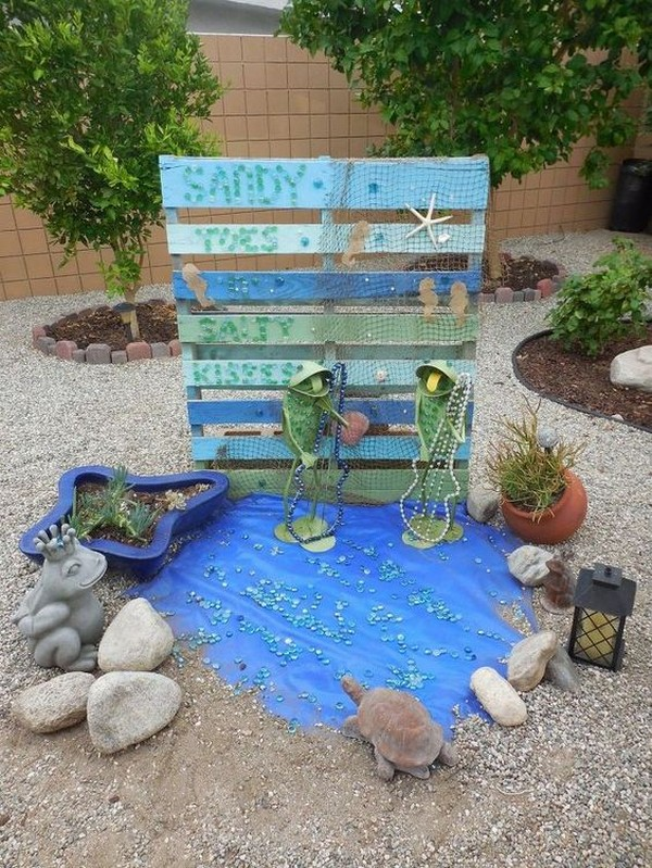 Beach-Style-14-The-ART-In-LIFE Pallet Wall Backyard Ideas on backyard art ideas, backyard floor ideas, backyard hammock ideas, backyard bench ideas, backyard food ideas, small backyard landscaping fire pit ideas, backyard table ideas, backyard stone ideas, backyard bar ideas, backyard storage ideas, backyard design ideas, backyard wood ideas, backyard garden ideas, backyard block ideas, backyard kitchen ideas, backyard furniture ideas, diy backyard ideas, backyard plant ideas, easy backyard ideas, backyard office ideas,