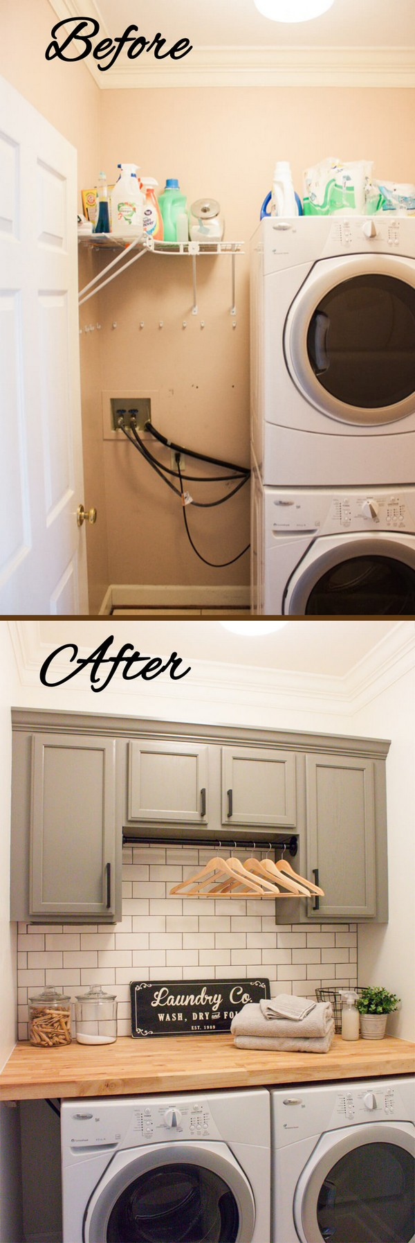 17 Before And After Budget Friendly Laundry Room Makeover Ideas