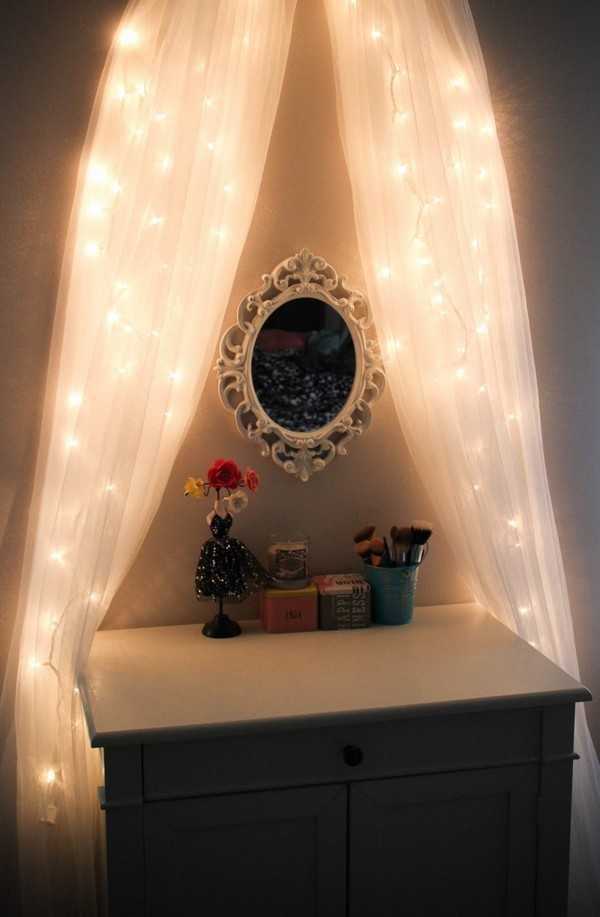subtle lighting. Mirror Draped With Subtle Lighting N