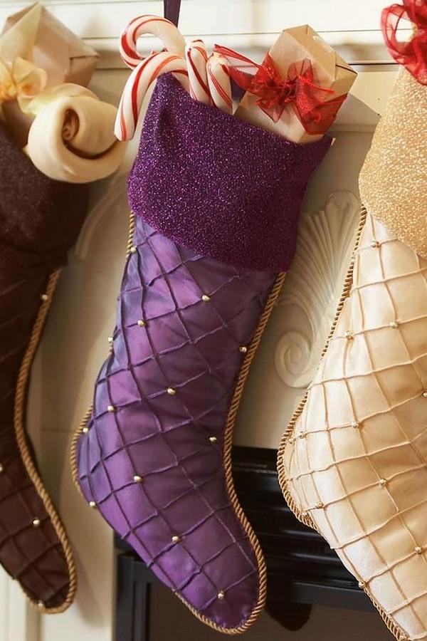 quilted purple christmas stocking - Purple Christmas Stockings