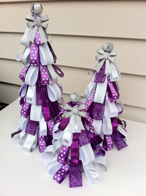 purple mini christmas trees - Purple Christmas Decorations Ideas