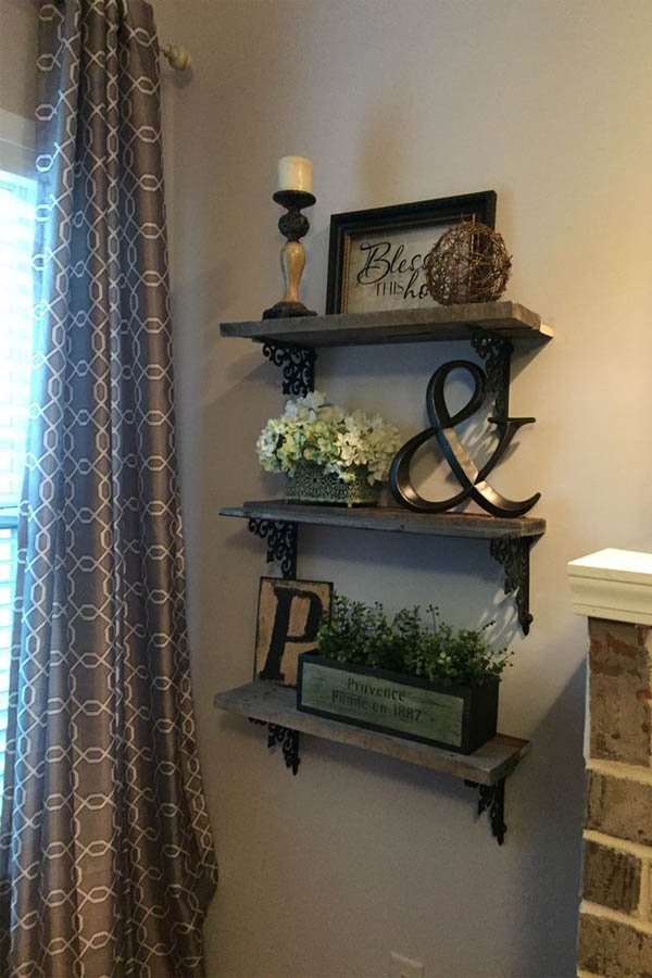 18 Triple Shelf Display With Wrought Iron Brackets